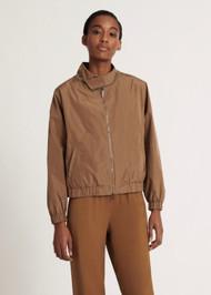 Fabiana Filippi Technical Fabric Bomber Jacket in Brown