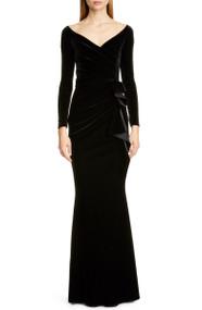 *PRE-ORDER* Chiara Boni La Petite Robe Silveria Long Sleeve Velvet Gown in Black