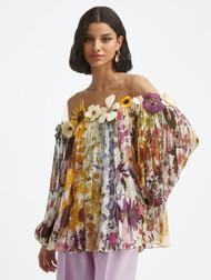 Oscar de la Renta Flower Embroidered Pleated Blouse