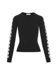 Oscar de la Renta Intarsia Long Sleeve Pullover in Black