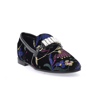Giuseppe Zanotti Letizia Velvet Loafer with Magdalena Stitching and Crystals