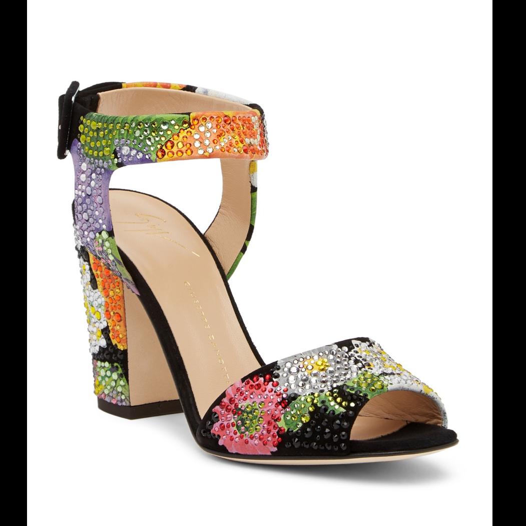 ff09a7e815d6 ... Giuseppe Zanotti Lavinia Black Suede Chunky Heel with Flower Crystal  Detail. Image 1