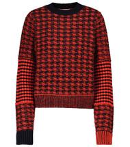 Victoria Beckham Textured Houndstooth Crewneck Sweater in Red/Navy