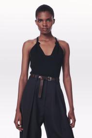 Victoria Beckham Pointelle Knit Tank Top in Black