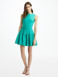 Oscar de la Renta Sleeveless Pleated Skirt Mini Dress