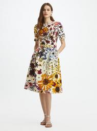 Oscar de la Renta Pressed Flower Cloque Short Sleeve Dress