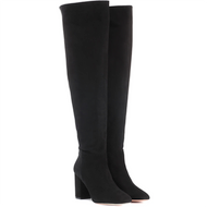 Aquazzura London Tall Black Suede Slouch Boot