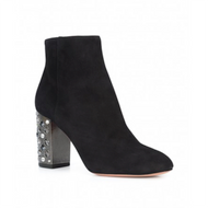 Aquazzura Party Black Suede Bootie with Heel Detail