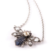 *TRUNK SHOW* Sylva & Cie. 18K Yellow Gold Sapphire and Diamond Bee Pendant on Chain