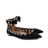 Aquazzura Harlow Pointed Black Suede Flat with Pearl and Gold Star Detail