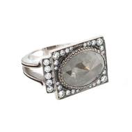 *TRUNK SHOW* Sylva & Cie. 18K White Gold Rough Diamond Renee Ring, Size 6 ¾