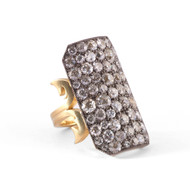 *TRUNK SHOW* Sylva & Cie. 18K Yellow Gold and Sterling Silver Old European Long Ten Table Ring, Size 8