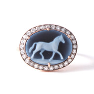 *TRUNK SHOW* Sylva & Cie. 14K Rose Gold Onyx Horse Cameo Ring, Size 7