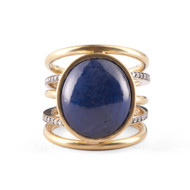 *TRUNK SHOW* Sylva & Cie. 18K Yellow and White Gold Oval Sapphire Spiral Ring, Size 7