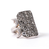 *TRUNK SHOW* Sylva & Cie. 18K White Gold and Sterling Silver Oxidized Grey Diamond Ten Table Ring, Size 7 ¾