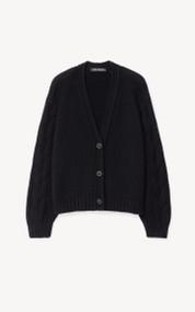 Iris Von Arnim Erin Cashmere Cable Knit Cardigan in Black