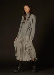 Fabiana Filippi Wool, Silk and Cashmere Turtleneck Sweater in Rock Grey