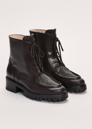 Fabiana Filippi Leather Embellished Lace Up Boots in Dark Chocolate