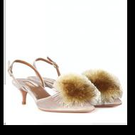 Aquazzura Powder Puff Champagne Velvet Sling Back Mini Heel with Puff