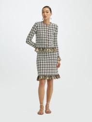 Oscar de la Renta Tweed Knit Fringe Skirt