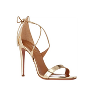 Aquazzura Linda Light Gold Strappy Sandal with Tie