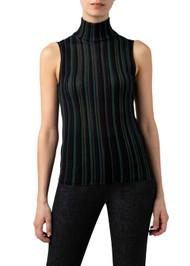 Akris Sleeveless Striped Wool Silk Knit Top