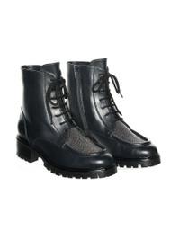Fabiana Filippi Leather Embellished Lace Up Boots in Black