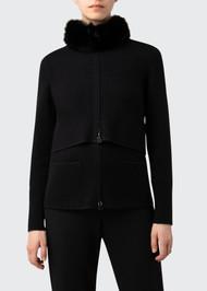 Akris 2 in 1 Cashmere Pique Cardigan with Fur Trim in Black
