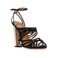 Aquazzura Trinity Black Suede Sandal with Chunk Gold Star Detailed Heel