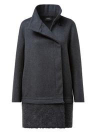 Akris Fabiella Cashmere Coat with Detachable Shearling Trim in Graphite