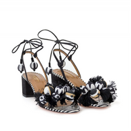 Aquazzura Tropicana Black and White Sandal with Pom Poms
