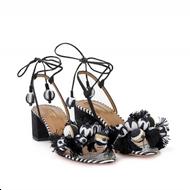 Aquazzura Tropicana Black and White Sandal with Pom Poms