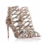 Aquazzura Knockout Roccia Snake Print Caged Sandals