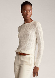 Ralph Lauren Cable-Knit Cashmere Sweater in Lux Cream