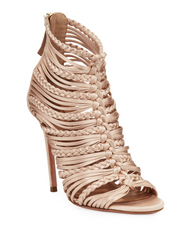 Aquazzura Goddess Powder Pink Satin Woven Strappy Sandal