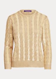 Ralph Lauren Sequined Silk Crewneck Sweater in Dune