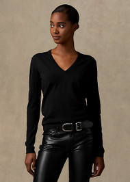Ralph Lauren Wool Long Sleeve V-neck Sweater in Black