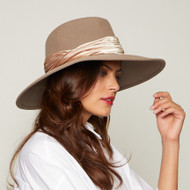 Eugenia Kim Emmanuelle Wool Wide Brim Fedora Hat in Mink