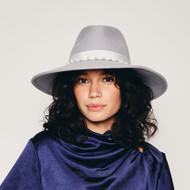 Eugenia Kim Emmanuelle Wool Floppy Fedora in Grey with Pearls