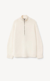Iris Von Arnim Joyce Cashmere Turtleneck Sweater with Zipper in Ecru