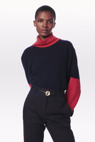 Victoria Beckham Contrast Detail Polo Neck Jumper in Navy/Bright Red
