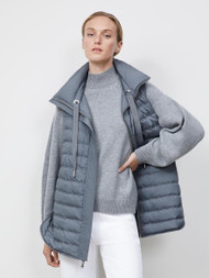 Lafayette 148 New York Dylan Reversible Down Vest in Kindmade Feather Tech in Rock