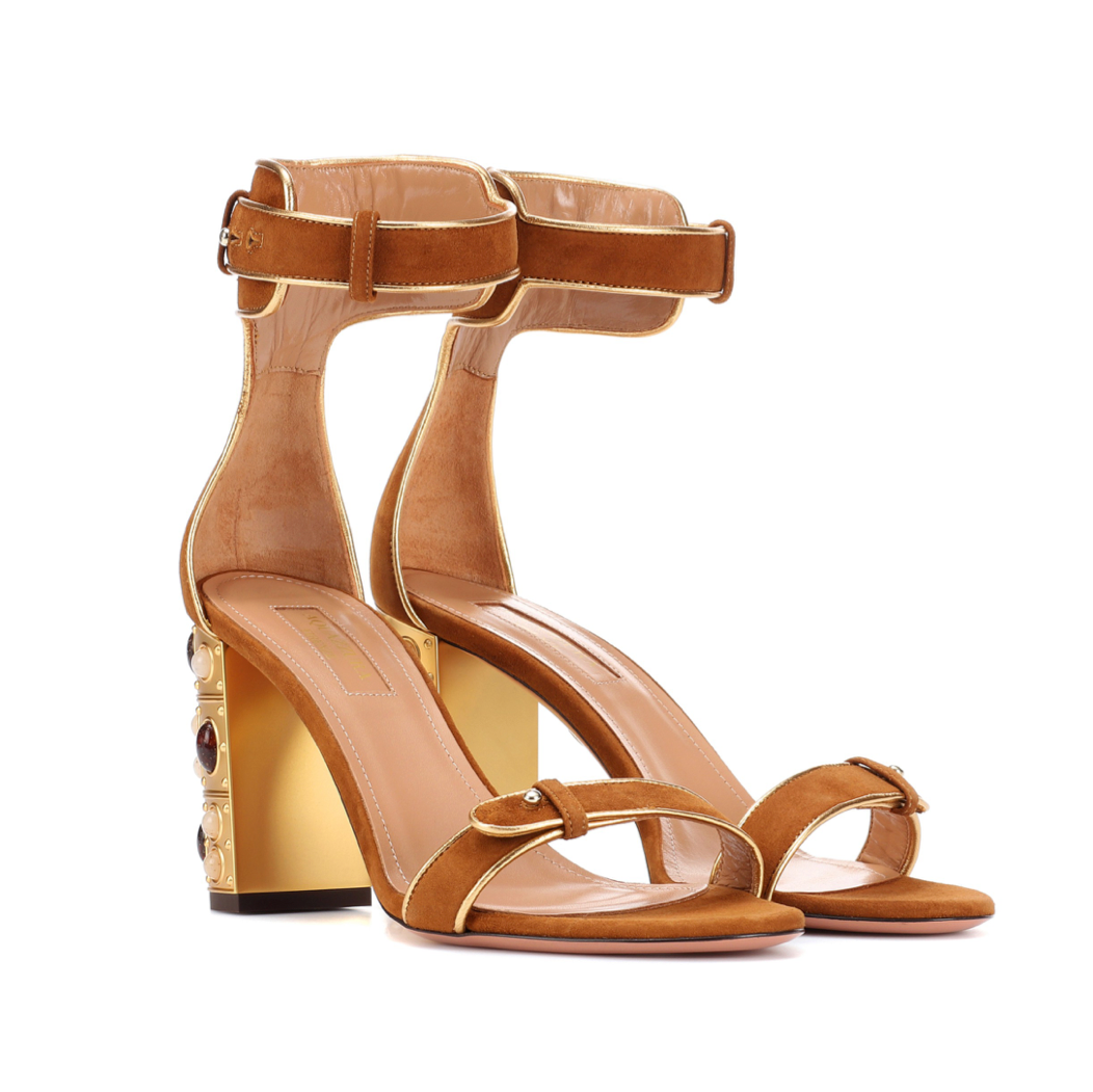 a74a29b7e252 ... Cognac Suede Sandal with Gold Retro Block Jeweled Heel. Image 1