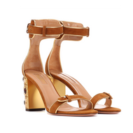 Aquazzura Lucky Star Cognac Suede Sandal with Gold Retro Block Jeweled Heel