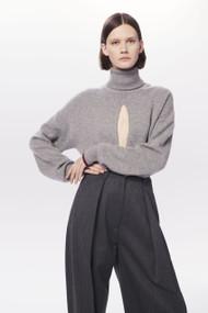 Victoria Beckham Cashmere Front Slit Polo Neck Jumper in Grey Melange