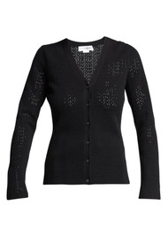 Victoria Beckham Fitted Pointelle Cardigan in Black
