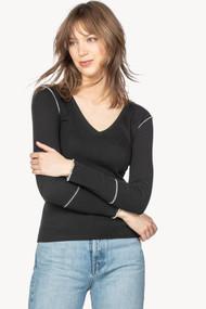 Lilla   P Long Sleeve Contrast Stitch V-Neck in Black