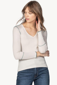 Lilla   P Long Sleeve Contrast Stitch V-Neck in Snow