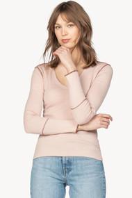 Lilla   P Long Sleeve Contrast Stitch V-Neck in Tearose