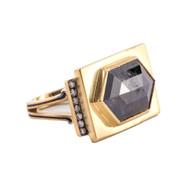 *TRUNK SHOW* Sylva & Cie. 18K Yellow Gold Renee Rough Cut Diamond Ring, Size 7 1/2